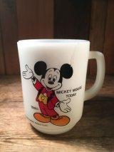 Mickey Mouse Today Fire King Mug ビンテージ ディズニー ミッキーマウス ファイヤーキング 9オンス マグカップ ミルクガラス キッチンウェア アメリカ雑貨 ヴィンテージ 80年代