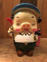 80s Vintage Lenticular Pig Piggy Bank(80年代 ビンテージ レンチキュラー 豚 陶器 貯金箱)