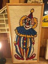 Clown Vintage  Wall Tapestry ビンテージ ピエロ クラウン 刺繍 タペストリー 壁掛け ポスター 木枠 70年代 ヴィンテージ