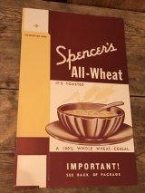Spencer's All Wheat Paper Box ビンテージ シリアル ペーパーボックス アドバタイジング 企業物 30年代 ヴィンテージ vintage