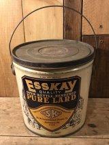 EssKay Pure Lard Tin Bucket Tin缶 ビンテージ ラード缶 アンティーク 企業物 ヴィンテージ vintage