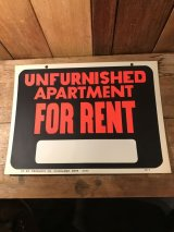 Unfurnished Apartment For Rent Hardware Sign 看板 ビンテージ 企業 70年代 サイン ヴィンテージ vintage