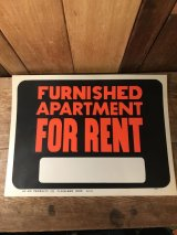 Furnished Apartment For Rent Hardware Sign 看板 ビンテージ 企業 70年代 サイン ヴィンテージ vintage