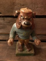 Wood Bull Dog College Mascot Figure