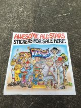 AWESOME! ALL-STARS BASEBALL STICKERS & BUBBLE GUM POSTER