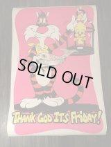 Thank God It's Friday Cat & Bird Blacklight Poster ビンテージ ぷラックライトポスター シルベスター トゥイーティー パロディ ワーナー ポスター 70年代 ヴィンテージ