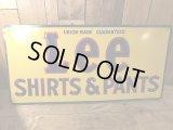 Lee Shirts & Pants Embossed Tin Metal Sign リー ビンテージ 看板 50年代 シャツ&パンツ ワーク ヴィンテージ vintage