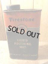 Firestone Liquid Polishing Wax Tin Can ファイヤーストーン ビンテージ オイル缶 アドバタイジング ワックス 70年代 Tin缶 ヴィンテージ vintage