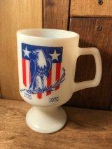 MFA Farmers Elevator & Produce Co. Footed Mug フェデラル 70年代 アメリカンイーグル フッテッドマグ ミルクガラス ファイヤーキング ヴィンテージ vintage
