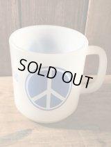 Peace Sign Milk Glass Mug ピースマーク 60年代 ミルクガラス ファイヤーキング ヴィンテージ vintage