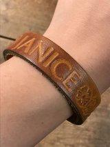 "American Name ""JANICE""Leather Bracelet レザー ビンテージ ブレスレット ヒッピー 70年代"