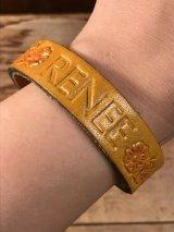 "American Name ""RENEE""Leather Bracelet レザー ビンテージ ブレスレット ヒッピー 70年代"