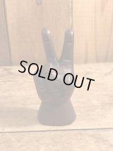 Wooden Peace Sign Mini Figurine ピースサイン ビンテージ 木彫り ヒッピー 置物 70年代