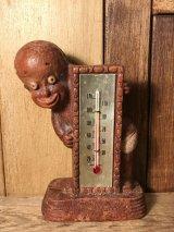 Black Americana Diaper Dan Thermometer  黒人 ビンテージ サーモメーター 湿度計 木彫り 40年代