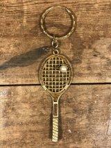 Tennis Racket Pearl Enamel Keychain テニスラケット ビンテージ キーホルダー エナメル 70年代