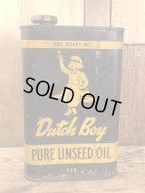 Dutch Boy Pure Linseed Oil Can ダッチボーイ ビンテージ オイル缶 ブリキ 50〜60年代