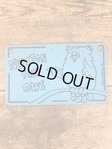 """Kelloggs """"Newton The Owl"""" Plastic License Plate ケロッグ ビンテージ ライセンスプレート ニュートンザオウル 70年代"""