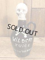 """Wildcat Juice """"Age Din The Woods"""" Skull Decanter スカル ビンテージ デカンタ ポイズンボトル 陶器 50〜60年代"""