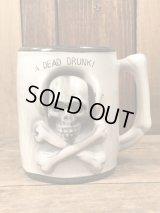"""Skull """"A Dead Drunk!"""" Nodder Ceramic Mug スカル ビンテージ マグカップ クロスボーン 50〜60年代"""