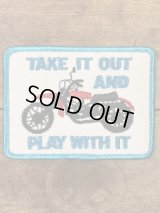 Take It Out And Play With It Patch モーターサイクル ビンテージ ワッペン メッセージ パッチ 70年代〜