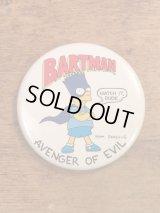 """The Simpson's """"BARTMAN"""" Badge シンプソンズ ビンテージ 缶バッジ バートマン 90年代"""