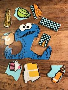 """他の写真1: Playskool Sesame Street """"Cookie Monster"""" Wooden Puzzle クッキーモンスター ビンテージ パズル セサミストリート 70年代"""