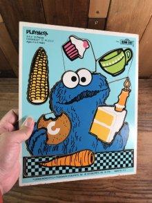 """他の写真3: Playskool Sesame Street """"Cookie Monster"""" Wooden Puzzle クッキーモンスター ビンテージ パズル セサミストリート 70年代"""