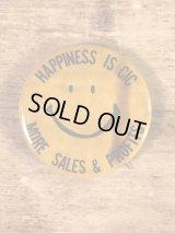 """Smile """"Happiness Is Cic More Sales & Profits"""" Pin Backs スマイル ビンテージ 缶バッジ スマイルフェイス 70年代"""