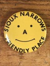 "Smile ""Sioux Narrows Friendly Peace"" Tin Badge スマイル ビンテージ 缶バッジ スマイルフェイス 80年代〜"