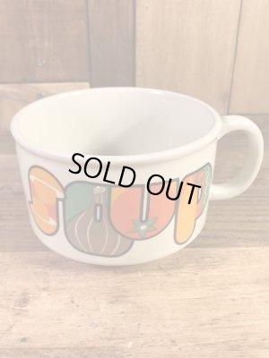 野菜の陶器製の70年代ビンテージスープマグカップ