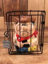 Cage In Cowboy Ceramic Coin Bank カウボーイ ビンテージ コインバンク 檻 70〜80年代