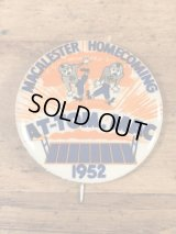 """Macalester Homecoming """"At-Tom,Mac"""" College Pin Back カレッジ ビンテージ 缶バッジ フットボール 50年代"""