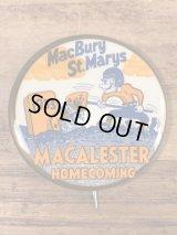 "Macalester Homecoming ""MacBury St.Marys"" College Pin Back カレッジ ビンテージ 缶バッジ フットボール 50年代"