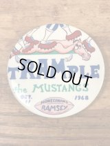 "Ramsey Homecoming ""Trample The Mustangs"" High School Pin Back ハイスクール ビンテージ 缶バッジ フットボール 60年代"