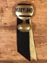 """""""Maryland"""" Football College Pin Back カレッジ ビンテージ 缶バッジ フットボール 40年代"""