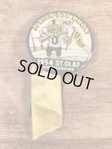 """St.Olaf Homecoming """"A-Lion-Ate Knox!"""" College Pin Back カレッジ ビンテージ 缶バッジ フットボール 50年代"""