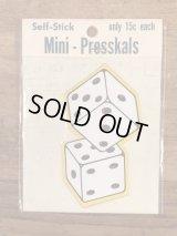 "Impko Self Stick ""Dice"" Mini Presskals Sticker サイコロ ビンテージ ステッカー デカール 60年代"