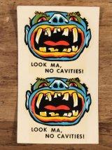 "Impko ""Look Ma,No Cavities!"" Water Slide Decal キャビティーズ ビンテージ 水張りステッカー ウォータースライドデカール 60年代"