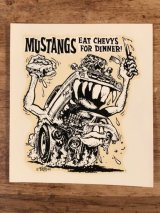 "Ed ""Big Daddy"" Roth ""Mustangs Eat Chevys For Dinner!"" Water Slide Decal エドロス ビンテージ 水張りステッカー ウォータースライドデカール 60年代"