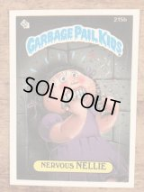 """Topps Garbage Pail Kids """"Nervous Nellie"""" Sticker Card 215b ガーベッジペイルキッズ ビンテージ ステッカーカード 80年代"""