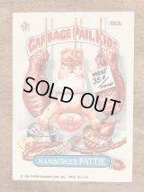 "Topps Garbage Pail Kids ""Hamburger Pattie"" Sticker Card 192b ガーベッジペイルキッズ ビンテージ ステッカーカード 80年代"