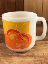 "Glasbake ""Carl's Jr."" Milk Glass Mug カールスジュニア ビンテージ マグカップ グラスベイク 70年代"