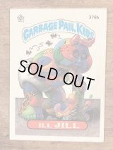 "Topps Garbage Pail Kids ""Ill Jill"" Sticker Card 376b ガーベッジペイルキッズ ビンテージ ステッカーカード 80年代"