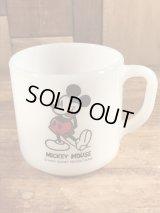 "Federal ""Mickey Mouse"" Milk Glass Mug ミッキーマウス ビンテージ マグカップ フェデラル 60〜70年代"