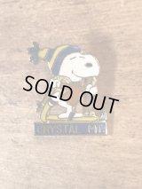 "Aviva Peanuts Snoopy Skiing ""Crystal MT."" Metal Badge スヌーピー ビンテージ メタルバッジ ピンバッジ 70〜80年代"