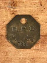 "B.P.D.""21 46"" Tool Brass Tag ツール ビンテージ ブラスタグ 真鍮 アンティーク"