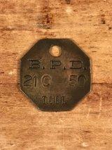 "B.P.D.""21C 50"" Tool Brass Tag ツール ビンテージ ブラスタグ 真鍮 アンティーク"
