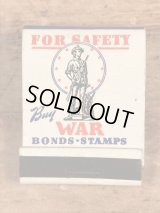 "For Safety ""Buy War Bonds"" Stamps Military Matchbook USワーボンズ ビンテージ マッチブック ミリタリー 40年代〜"