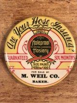 Holeproof Hosiery Advertising Pocket Mirror 企業物 ビンテージ ポケットミラー 手鏡 1910年代〜