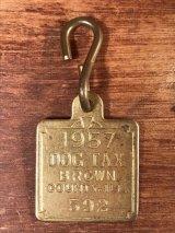 "Dog Tax Brown County ""592"" Brass Tag 真鍮 ビンテージ ドッグタグ 50年代"